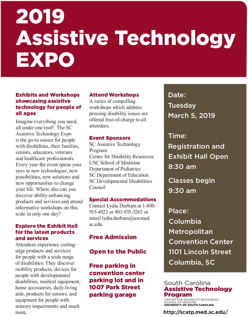 Plan to attend the 2019 South Carolina Assistive Technology Expo
